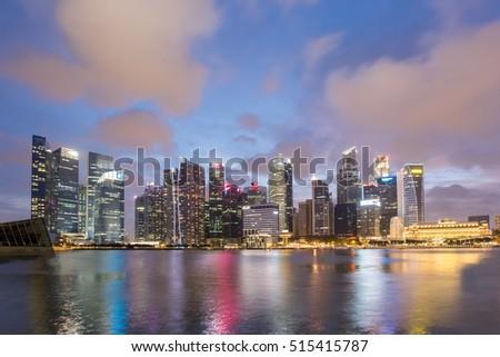 SINGAPORE -FEB 21, 2016 : Singapore Skyline and view of Marina Bay at sunset time