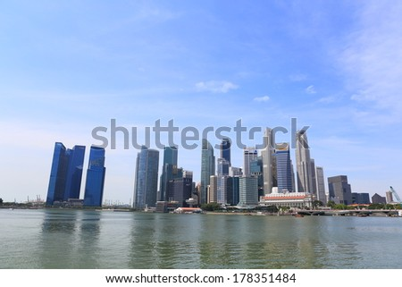 SINGAPORE - FEB 01: View of skyscrapers in Marina Bay on February 01, 2014 in Singapore. Singapore is the world's fourth leading financial centre.