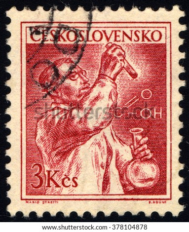 SINGAPORE - FEBRUARY 18,  2016: A stamp printed in Czechoslovakia shows a chemist, circa 1954 - stock photo