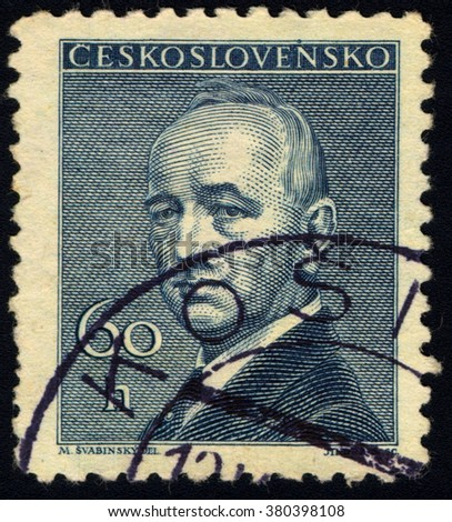 SINGAPORE - FEBRUARY 23, 2016: A stamp printed in Czechoslovakia shows 2nd & 4th President of Czechoslovakia - Edvard Benes, circa 1946 - stock photo