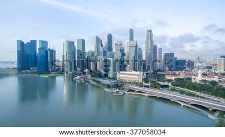Singapore - February, 2016: Aerial view of Marina Bay area during sunrise