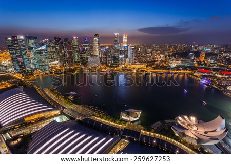 SINGAPORE - FEBRUARY 27, 2015: aerial view of sunset scene of Marina Bay. Marina Bay is one of the most famous tourist attraction in Singapore.
