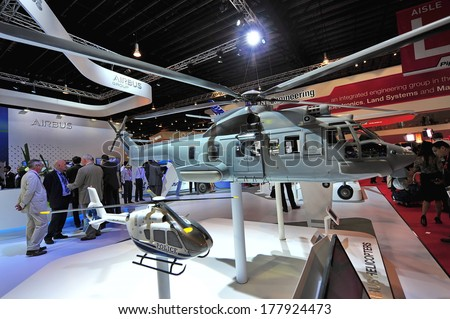 SINGAPORE - FEBRUARY 12: Airbus EC725 Caracal multi-role helicopter model on display at Singapore Airshow February 12, 2014 in Singapore