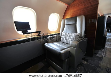 SINGAPORE - FEBRUARY 12: Luxurious interior of Bombardier Global 6000 executive jet at Singapore Airshow February 12, 2014 in Singapore