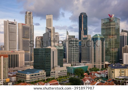 Singapore, 06 February 2016: Modern city skyline with towering skyscrapers.