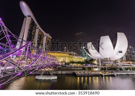 SINGAPORE - FEBRUARY 27, 2015: Night scene at Marina Bay Sands. Marina Bay Sand is one of the most famous tourist attraction in Singapore.  - stock photo