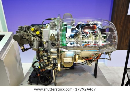 SINGAPORE - FEBRUARY 12: Pratt & Whitney showcasing its PW200 helicopter engine at Singapore Airshow February 12, 2014 in Singapore