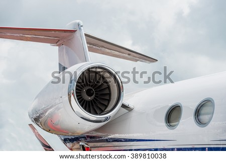 Singapore - February 21, 2016: Private aircraft partial detail on display at Singapore Airshow 2016