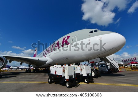 SINGAPORE - FEBRUARY 16:  Qatar Airways Airbus A380 super jumbo on display at Singapore Airshow February 16, 2016 in Singapore