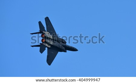 SINGAPORE - FEBRUARY 16:  RSAF F-15SG figher jet performing aerobatics at Singapore Airshow February 16, 2016 in Singapore