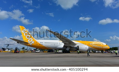 SINGAPORE - FEBRUARY 16:  Scoot Boeing 787 Dreamliner on display at Singapore Airshow February 16, 2016 in Singapore - stock photo