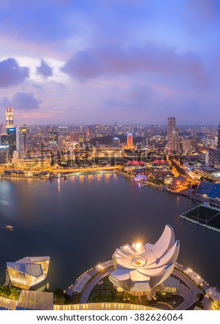 SINGAPORE, FEBRUARY 21 2016 : Singapore skyline and view of the financial district, Singapore on February 21 2016 - stock photo