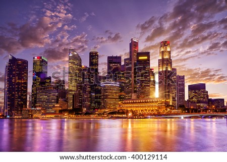 SINGAPORE, FEBRUARY 22 2016 : Singapore skyline and view of the financial district, Singapore on February 22 2016 - stock photo