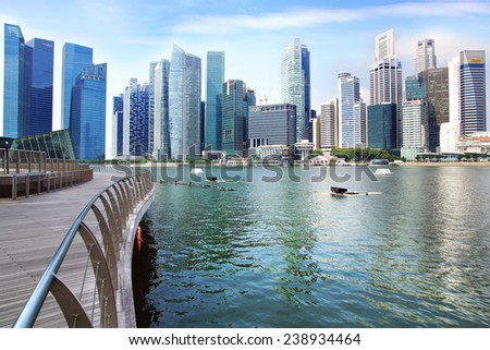 SINGAPORE - FEBRUARY 04, 2014: Singapore skyline. View includes next buildings: DBC, HSBC, Maybank, Capital Tower, Overseas Bank Plaza, OUB Centre, UOB Plaza One, OSBC, SingTel and ect.  - stock photo
