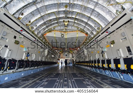 SINGAPORE - FEBRUARY 16:  USAF Boeing C-17 Globemaster III military transport aircraft on display at Singapore Airshow February 16, 2016 in Singapore - stock photo