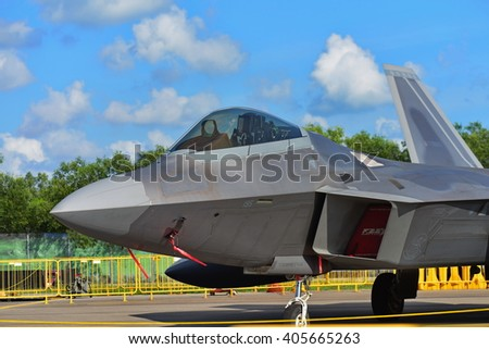 SINGAPORE - FEBRUARY 16:  USAF Lockheed Martin F22 Raptor on display at Singapore Airshow February 16, 2016 in Singapore
