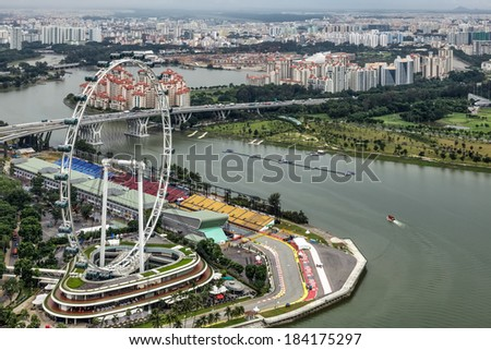 SINGAPORE - FEBRUARY 3 : View of the Singapore Flyer in Singapore on February 3, 2012
