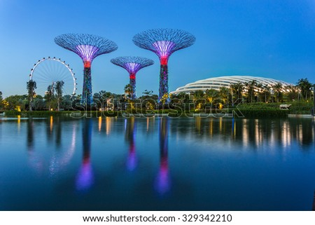 SINGAPORE - FEBRUARY 28, 2015: view of the Supertree Groove at Garden by the Bay and Singapore Flyer. Garden by the Bay and Singapore flyer are the famous tourist attraction in Singapore. - stock photo