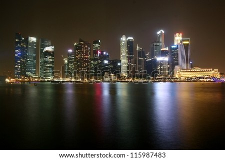 Singapore financial center at Marina Bay at night
