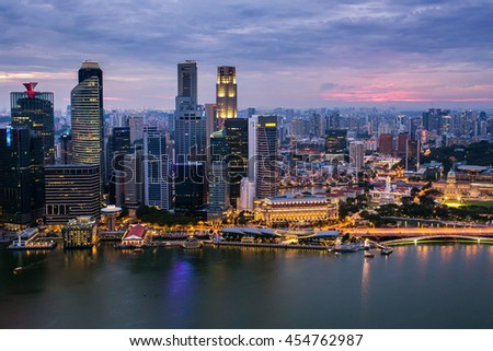Singapore financial district and Marina bay aerial view at sunset