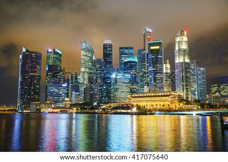 Singapore financial district at the night time - stock photo