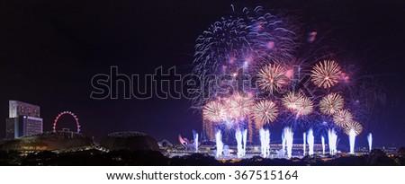 Singapore Fireworks - stock photo