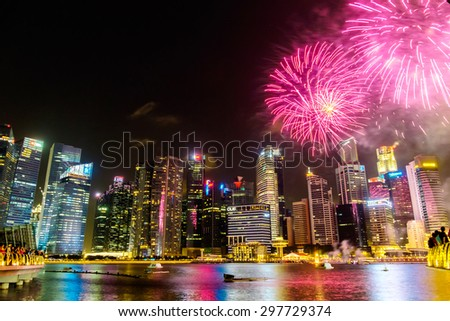 Singapore fireworks skyline cityscape at night   , Singapore -17July 2015 - stock photo