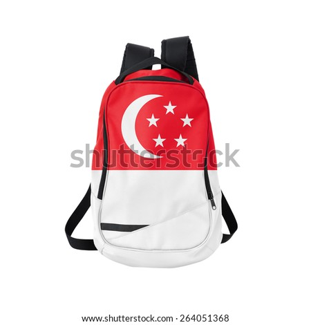 Singapore flag backpack isolated on white background. Back to school concept. Education and study abroad. Travel and tourism in Singapore - stock photo