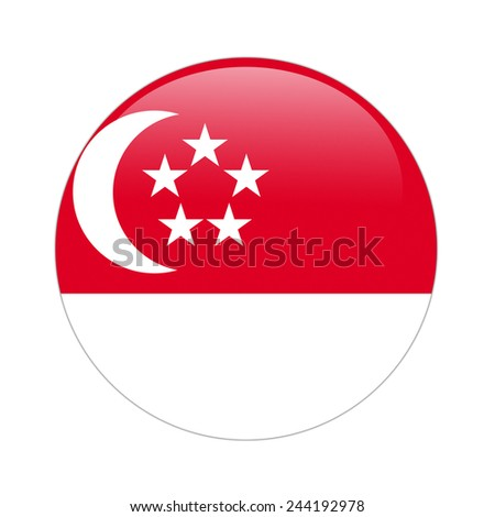Singapore flag button on white - stock photo