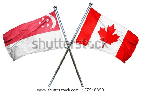 Singapore flag  combined with canada flag