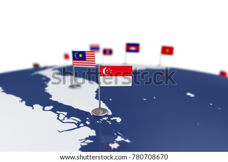 Singapore flag country flag chrome flagpole stock illustration singapore flag country flag with chrome flagpole on the world map with neighbors countries borders gumiabroncs Images