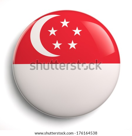 Singapore flag icon. Clipping path included. - stock photo