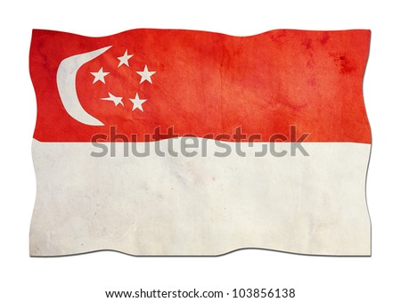 Singapore Flag made of Paper - stock photo