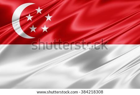 Singapore  flag of silk - stock photo