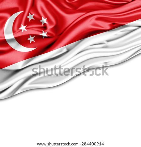 Singapore  flag of silk and white background - stock photo