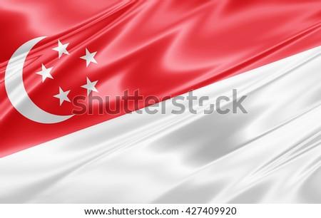 Singapore  flag of silk-3D illustration - stock photo