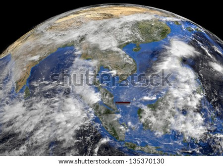 Singapore flag on pole in earth globe illustration - Elements of this image furnished by NASA