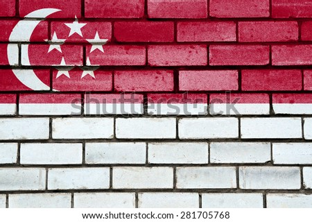 Singapore flag painted on old brick wall texture background - stock photo
