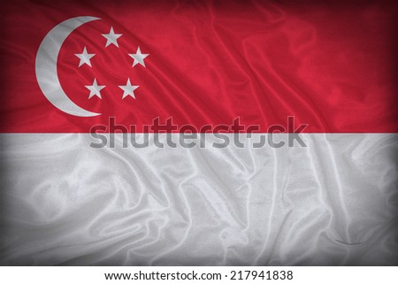 Singapore flag pattern on the fabric texture ,vintage style - stock photo
