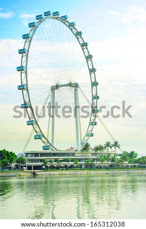 Singapore Flyer - the Largest Ferris Wheel in the World. - stock photo
