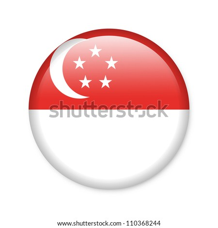 Singapore - glossy button with flag - stock photo