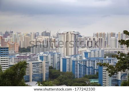 Singapore Housing Development Board Apartment Buildings Cityscape - stock photo