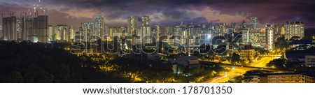 Singapore Housing Estate with Stormy Sky at Evening Time Panorama - stock photo