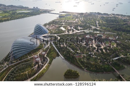 singapore jan 5aerial view of the supertree grove cloud forest flower - Garden By The Bay Mrt Station