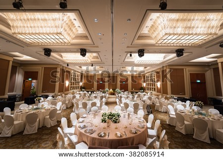 Singapore, 24 Jan 2015: Hotel setup for grand wedding banquet. - stock photo