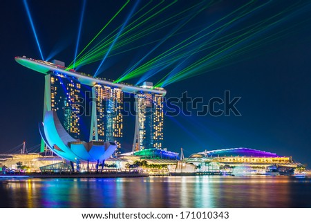 Singapore Jan 13 Largest And Most Beautiful Laser Show At The Marina Bay Waterfront