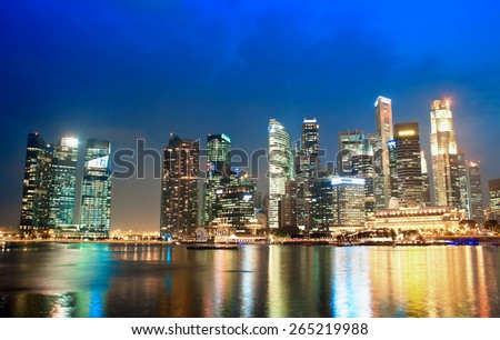 SINGAPORE - JANUARY 23: A business center is located along the Singapore River and Marina Bay, January 23, 2014.Singapur one of the largest financial centers in the world.