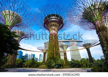 SINGAPORE - JANUARY 30: Gardens by the Bay on January 30, 2016 in Singapore.  - stock photo