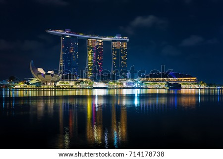 Singapore, 2017 January 10 - Landscape of the Marina Bay Sands hotel and art and science museum