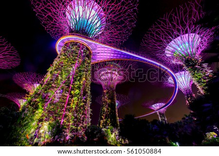 singapore january 9 2017 light show of giant trees at garden by the